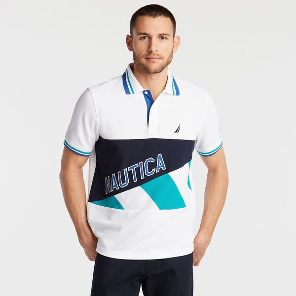 CLASSIC FIT PIECED PIQUÉ POLO - Bright White