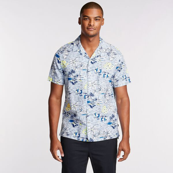 Linen Blend Camp Shirt in Tropical Print - Horizon Blue