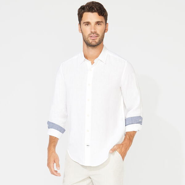 CLASSIC FIT LINEN SHIRT - Bright White