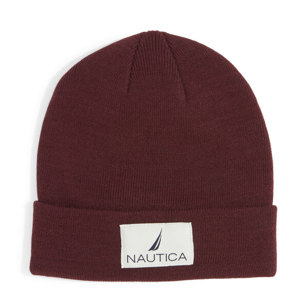 KNIT PATCH CUFF HAT - Rio Red