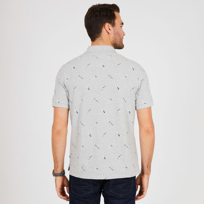 Oars Motif Classic Fit Deck Polo,Grey Heather,large