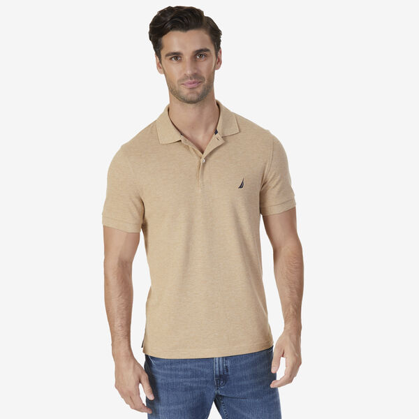 SLIM FIT MESH POLO - Camel Heather