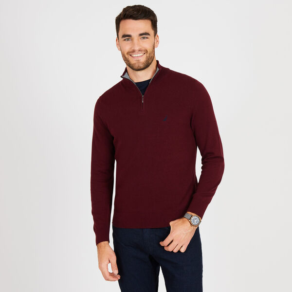 Big & Tall Quarter-Zip Mock-Neck Sweater - Royal Burgundy