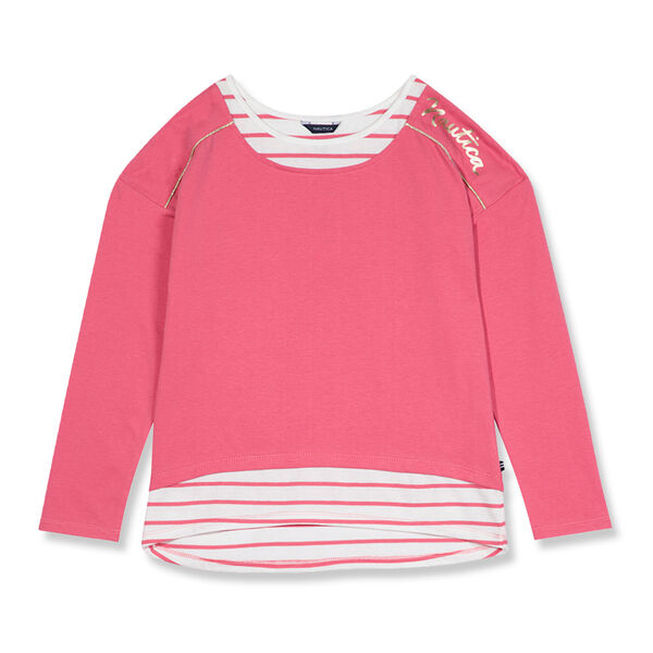 Girls' Metallic Logo Layered Top (7-16) - Pomegranate