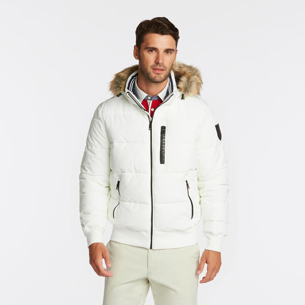 STRETCH BOMBER WITH REMOVABLE HOOD - Twig
