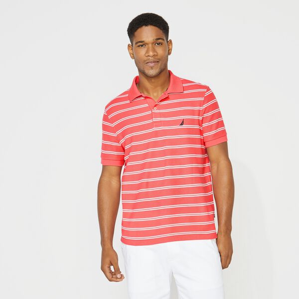 CLASSIC FIT STRIPED DECK POLO - Persian Red