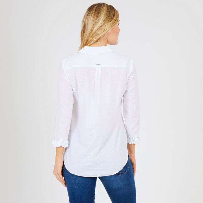 Long Sleeve Lace-Up Popover Shirt,Bright White,large