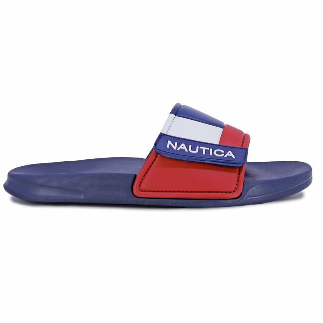 COLORBLOCK LOGO SLIDE SANDAL,Navy,large