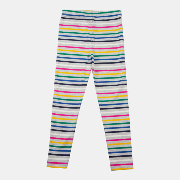 LITTLE GIRLS' MULTICOLOR STRIPE LEGGING (4-7) - Grey Heather