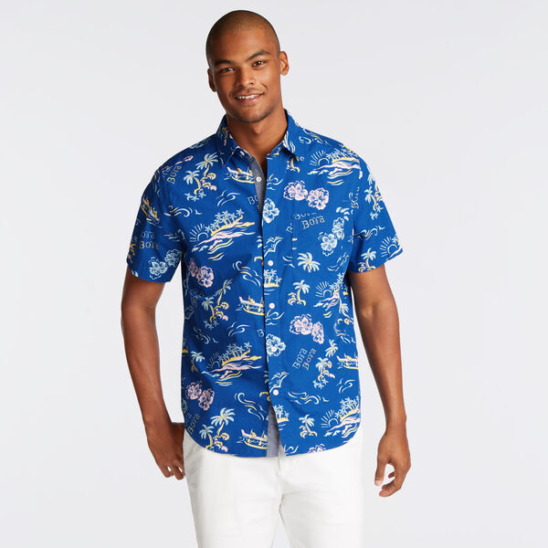 CLASSIC FIT SHORT SLEEVE SHIRT IN BLUE BORA BORA PRINT - Clear Skies Blue
