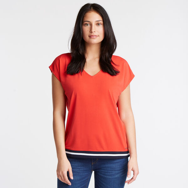 Jersey Crepe Blouse - Firey Red