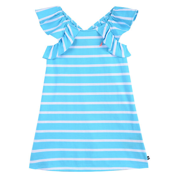 Girls' Stripe Dress With Ruffles - Castaway Aqua