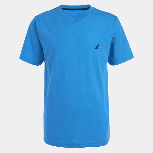 BOYS' CHANNEL V-NECK TEE (8-20),Star Turquoise,large