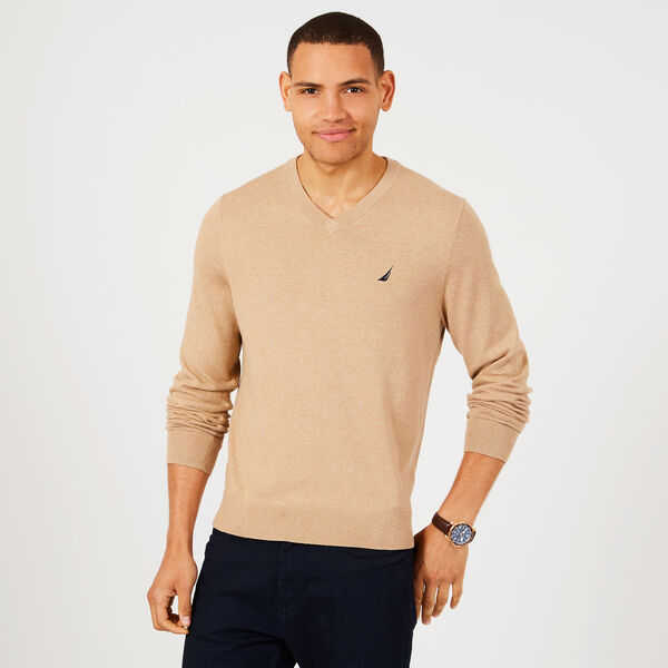 Big & Tall Jersey V-Neck Sweater - Camel Heather