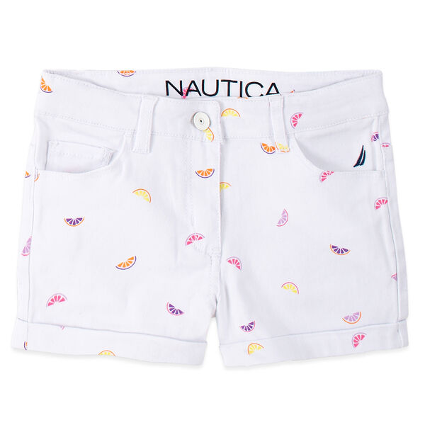 TODDLER GIRLS' FRUIT PRINTED DENIM SHORTS (2T-4T) - Antique White Wash