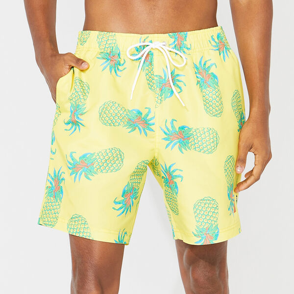 "8"" BIG & TALL PINEAPPLE PRINT SWIM TRUNKS - Sun Fish Yellow"