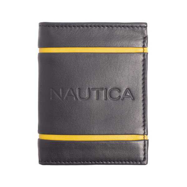 CONTRAST TRIM LEATHER WALLET - Navy