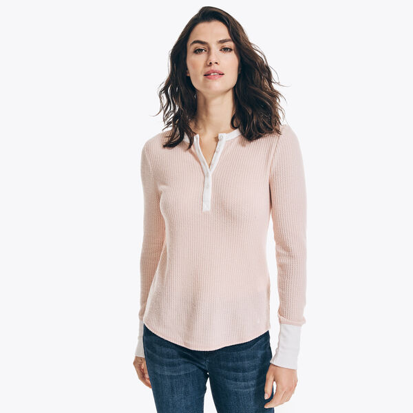 TEXTURED COLORBLOCK HENLEY - Bow Burgundy