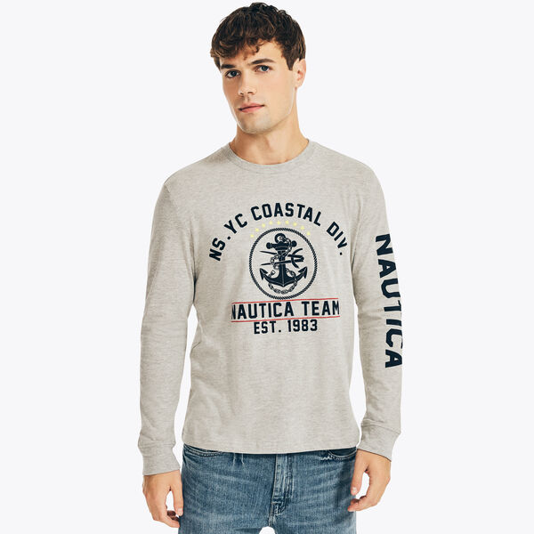 NAUTICA JEANS CO. SUSTAINABLY CRAFTED GRAPHIC LONG SLEEVE T-SHIRT - Grey Heather