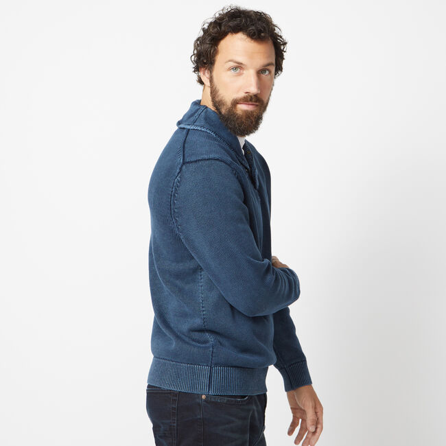NAUTICA JEANS CO. ENZYME WASHED SHAWL COLLAR SWEATER,True Navy,large
