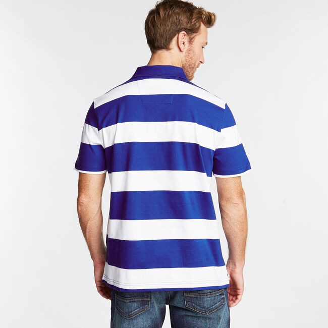 Stripe Classic Fit Polo,Bright Cobalt,large