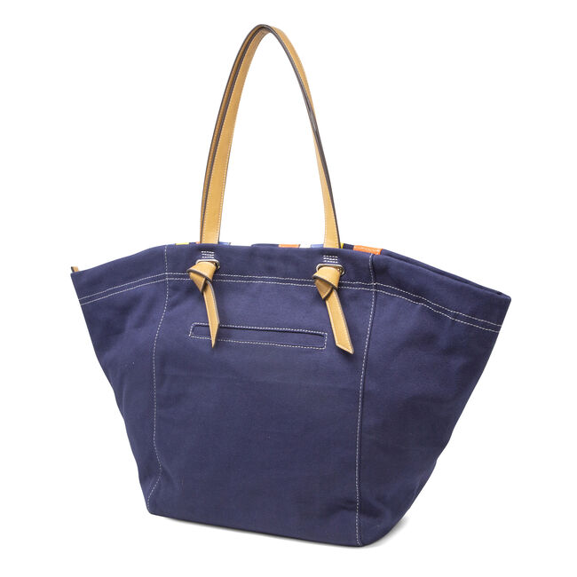 STRIPE AND COLORBLOCK TOTE,Ice Blue,large