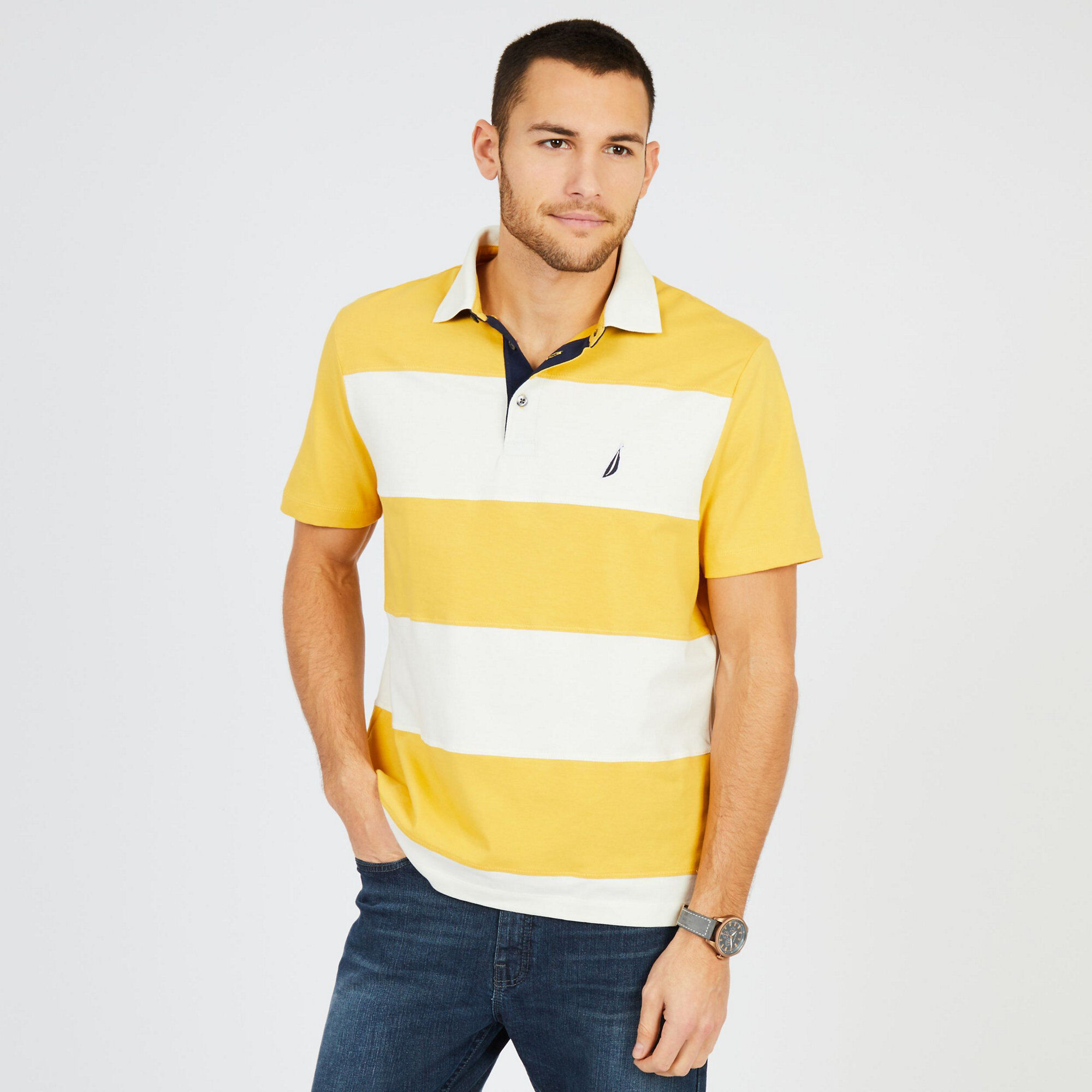 Short Sleeve Classic Fit Rugby Stripe Polo Shirt Nautica