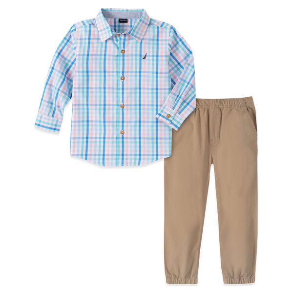TODDLER BOYS' PLAID WOVEN PANT 2PC SET (2T-4T) - Starlight Blue