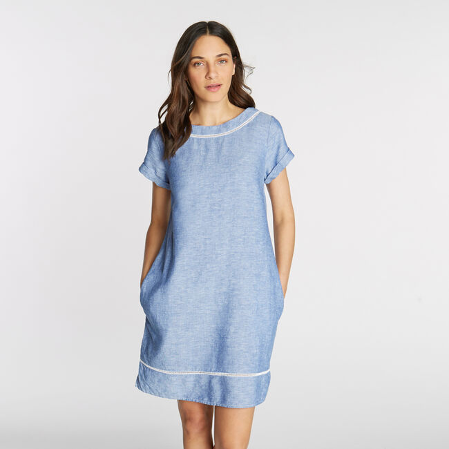 21c7225185a3 Short Sleeve Chambray Shift Dress,Bayberry Blue,large