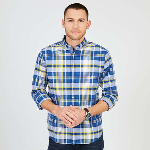 Big & Tall Long Sleeve Poplin Plaid Shirt - Lakeside Blue Wash