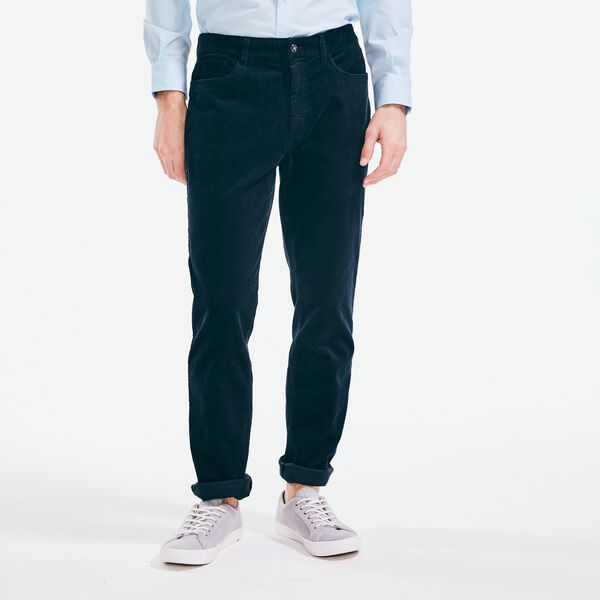 STRAIGHT FIT CORDUROY PANT - Navy