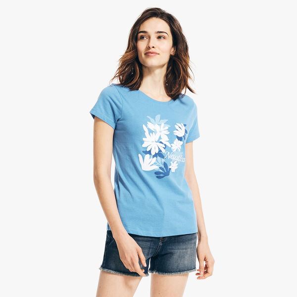 FLORAL LOGO GRAPHIC T-SHIRT - Distressed Blue Wash