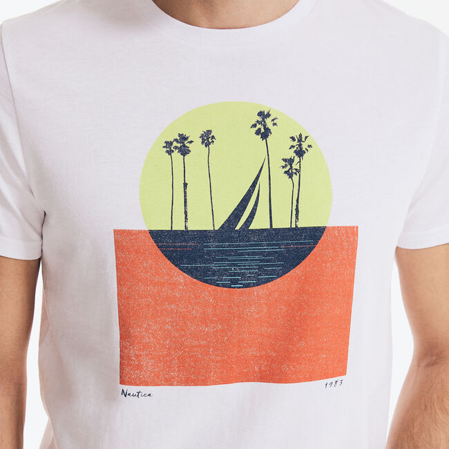 WEST COAST OCEAN GRAPHIC T-SHIRT,Bright White,large