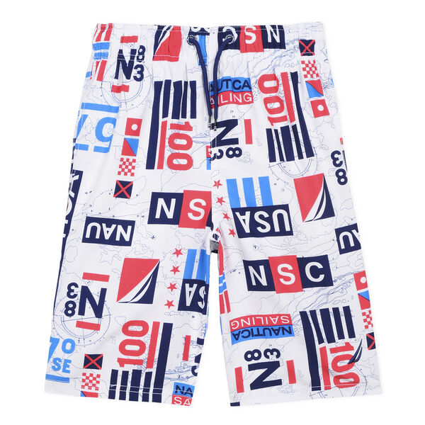 Boys' Sail USA Swim Trunk (8-20) - White