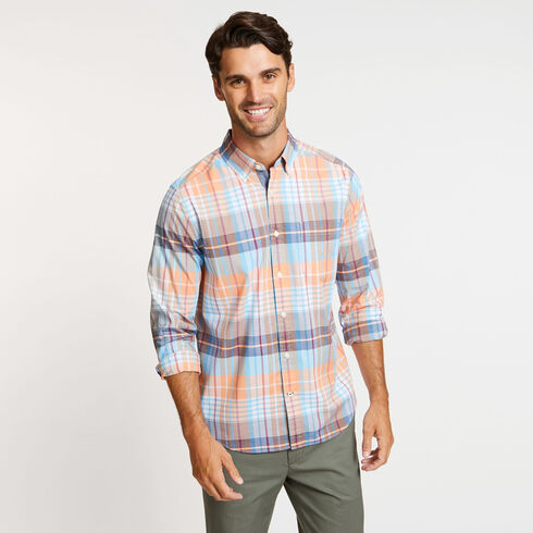 Big & Tall Long Sleeve Plaid Classic Fit Shirt - Orange