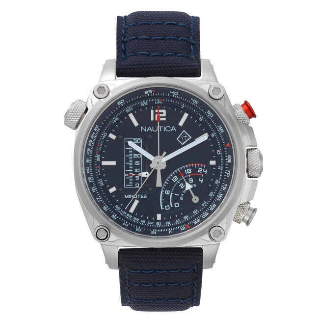 Millrock Chronograph Canvas Watch - Navy,Navy,large