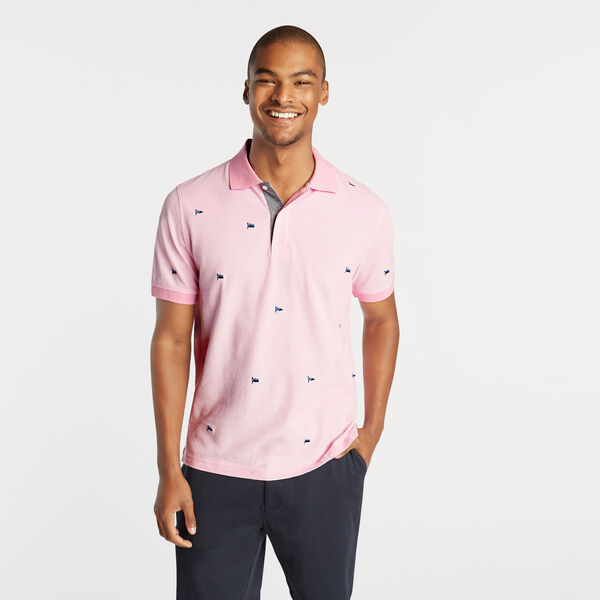 CLASSIC FIT OXFORD MESH POLO IN EMROIDERED FLAG ICON - Prism Pink
