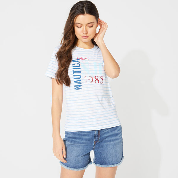 NAUTICA JEANS CO. STRIPED GRAPHIC TEE - Bright White