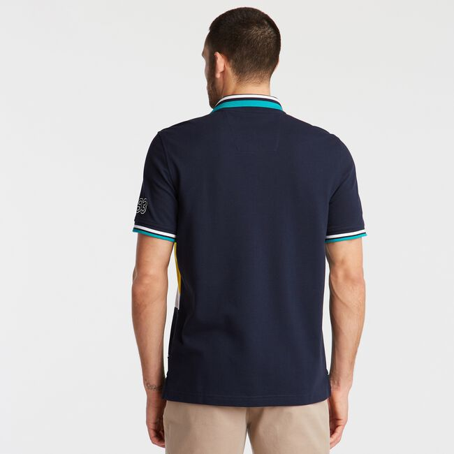 CLASSIC FIT PIECED PIQUÉ POLO,Navy,large