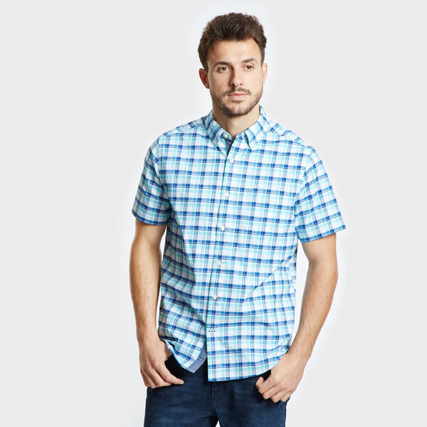 Short Sleeve Oxford Plaid Classic Fit Shirt - Sapphire