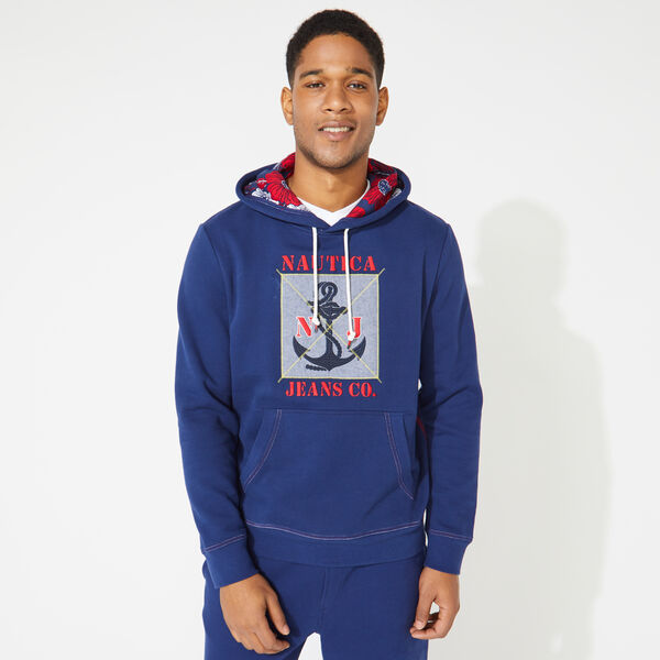 NAUTICA JEANS CO. GRAPHIC PULLOVER HOODIE - J Navy