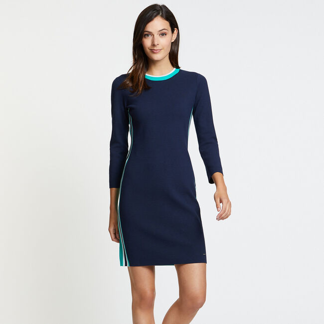 Side Stripe Crewneck Sweater Dress,Deep Sea,large