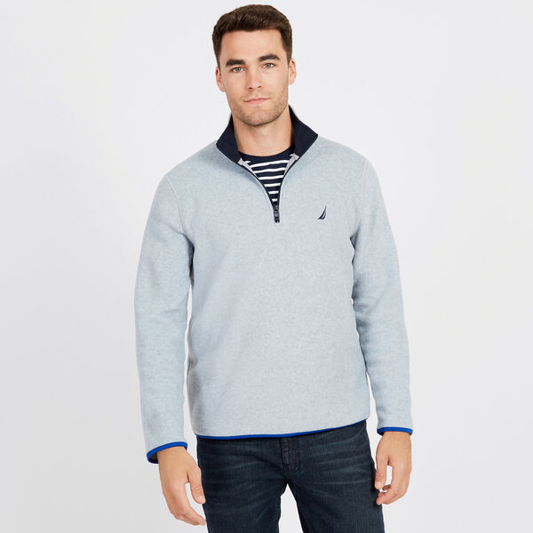 Basic Quarter-Zip Nautex Pullover - Grey Heather