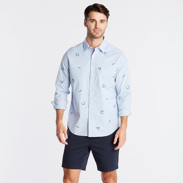 CLASSIC FIT OXFORD SHIRT IN EMBROIDERED LOGO - Riviera Blue