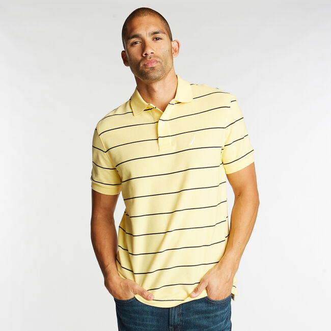 Classic Fit Striped Performance  Polo Shirt,Corn,large