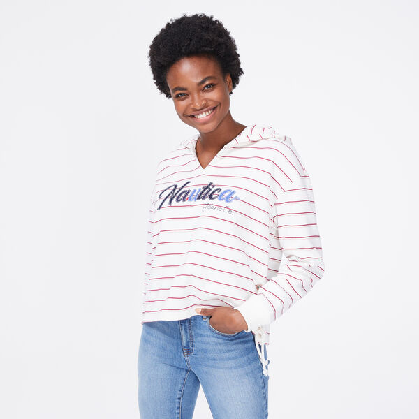 NAUTICA JEANS CO. STRIPE LOGO LACE-UP HOODIE - Marshmallow