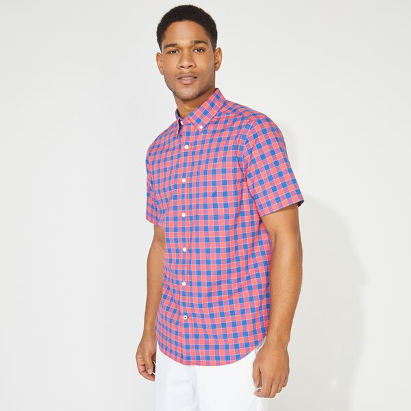 CLASSIC FIT PLAID SHORT SLEEVE SHIRT - Persian Red