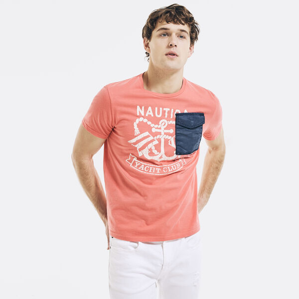 NAUTICA JEANS CO. GRAPHIC POCKET T-SHIRT - Sugar Coral