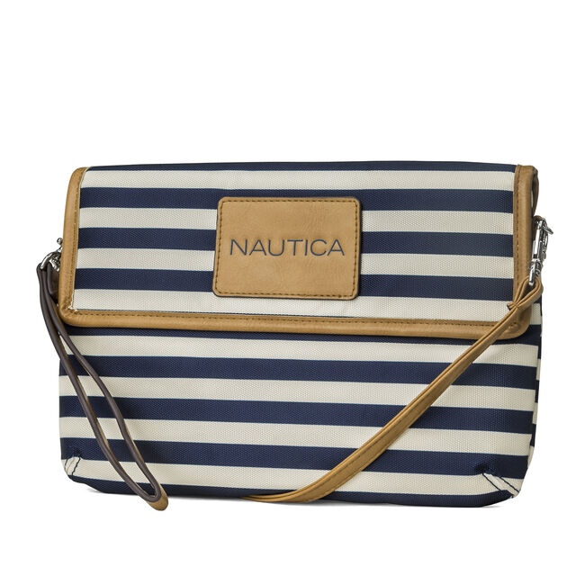 Shore Things Striped Wristlet Clutch,Peacoat,large
