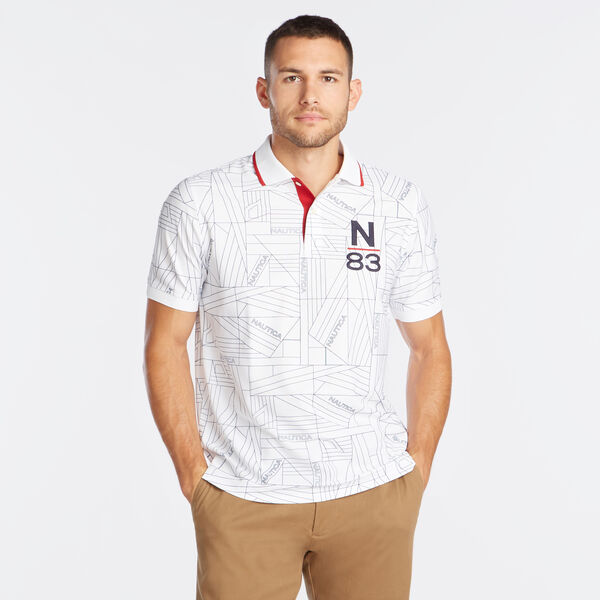 CLASSIC FIT PRINTED N-83 PERFORMANCE POLO - Bright White